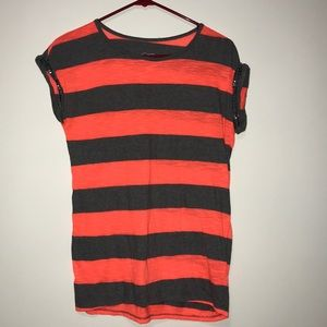 Neon Orange Striped Blouse